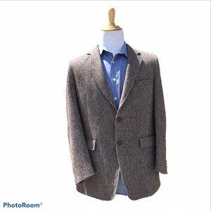 HARRIS TWEED 38R Irish Wool Brown Herringbone